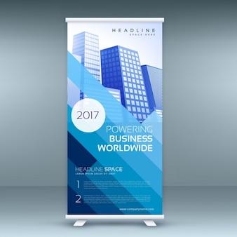 Blauwe elegante roll up banner sjabloon voor marketing en reclame