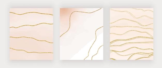 Blauwe en beige penseelstreek aquarel achtergronden met gouden glitter lijnen