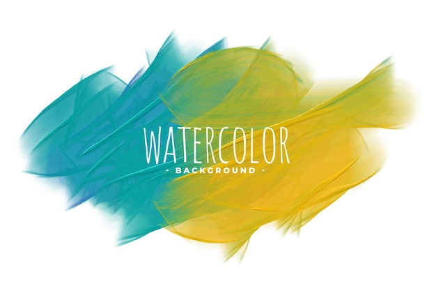 Blauwe en gele abstracte aquarel textuur achtergrond