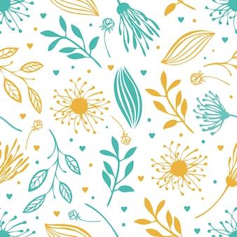Blauwe en gele abstracte bloemenachtergrond
