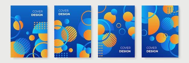 Blauwe en gele abstracte geometrische omslagontwerpen met kleurovergang, trendy brochuresjablonen, kleurrijke futuristische posters. vector illustratie