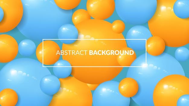Blauwe en gele ballen abstracte achtergrond