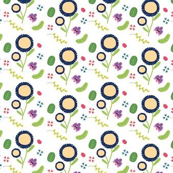 Blauwe en gele de bloemenillustratie van de achtergrondbloemen bloemendecoratie