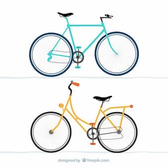 Blauwe en gele fietsen