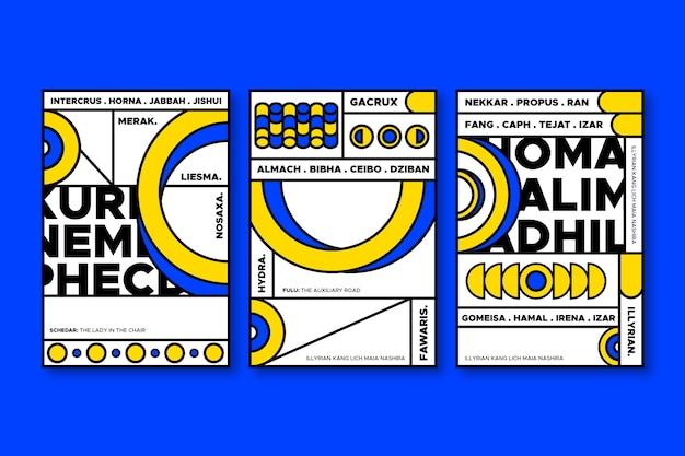 Blauwe en gele geometrische vormen voor covers