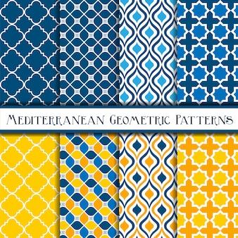 Blauwe en gele verzameling van geometrische mediterrane naadloze patronen
