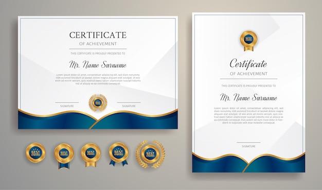 Blauwe en gouden certificaat van prestatie grens sjabloon met luxe badges