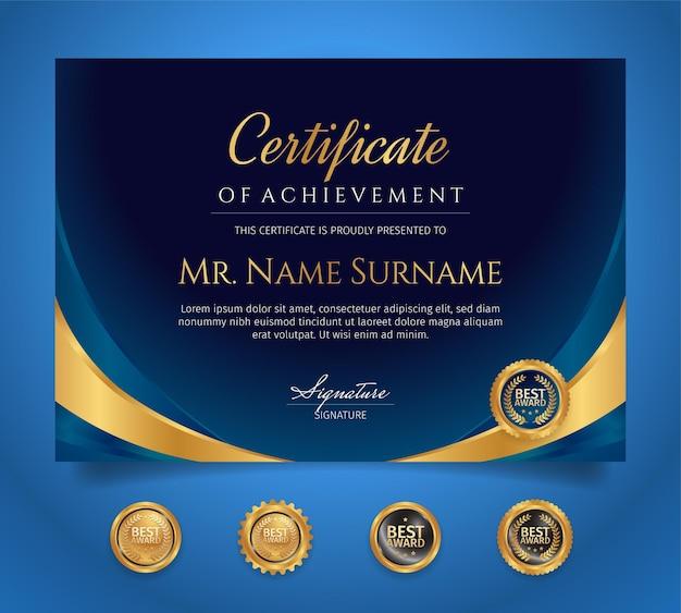 Blauwe en gouden certificaat van prestatiegrenssjabloon met luxe badges