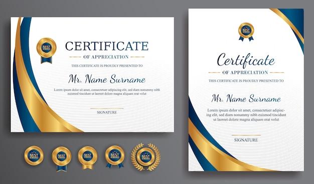 Blauwe en gouden certificaat van waardering grens sjabloon met luxe badges
