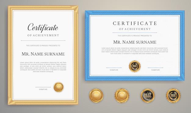 Blauwe en gouden certificaatsjabloon grens voor bedrijfs- en onderwijsdocument