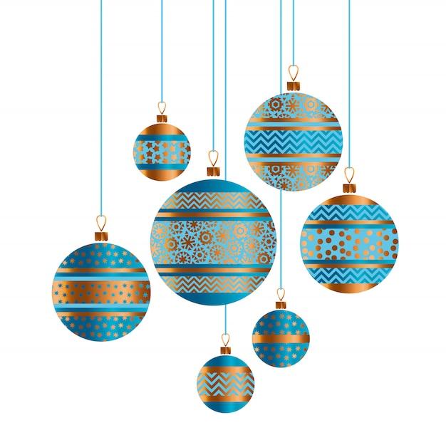 Blauwe en gouden de snuisterijdecor gestileerde illustratie van kerstmis.