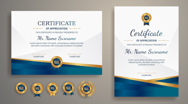 Blauwe en gouden diploma certificaat van waardering grenssjabloon met luxe badges