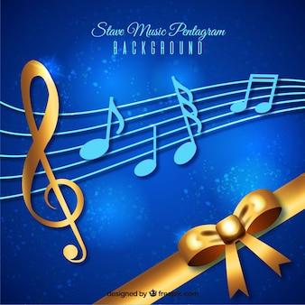 Blauwe en gouden muziekachtergrond