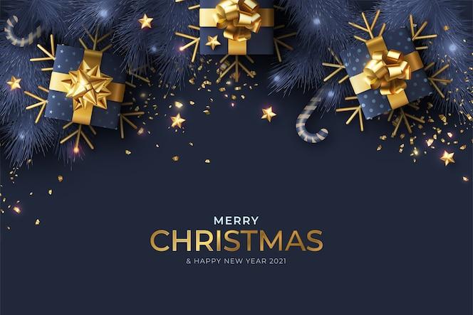 Blauwe en gouden realistische kerst achtergrond