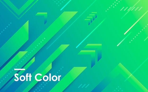 Blauwe en groene achtergrond met kleurovergang geometrische vorm