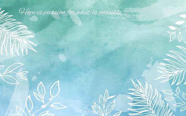 Blauwe en groene aquarel achtergrond met citaat