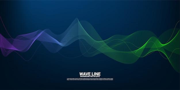 Blauwe en groene geluidsgolflijnkromme op donkere achtergrond. element voor de futuristische vector van de thematechnologie