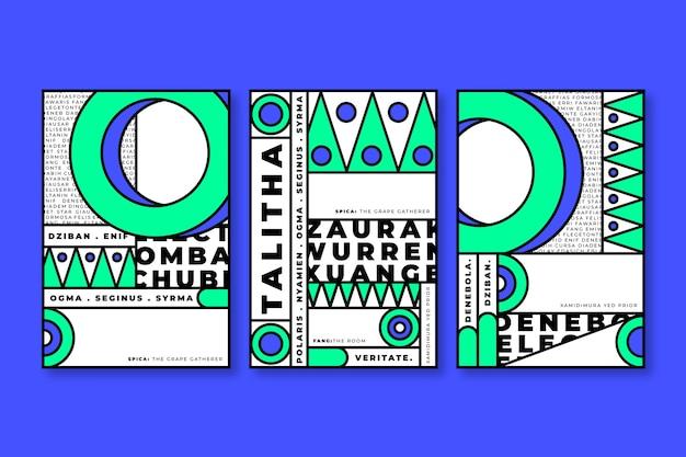 Blauwe en groene geometrische vormen voor covers