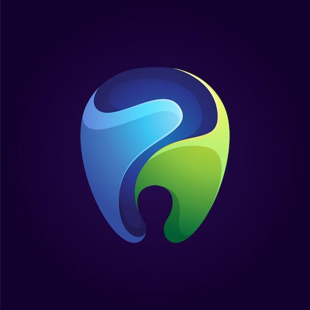 Blauwe en groene kleurrijke tandheelkundige logo