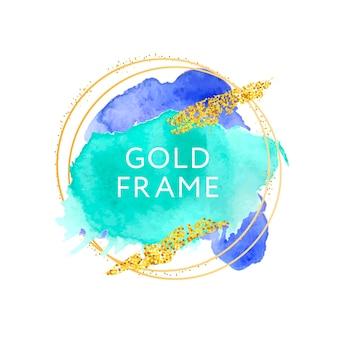 Blauwe en groene penseelstreken en gouden frame.