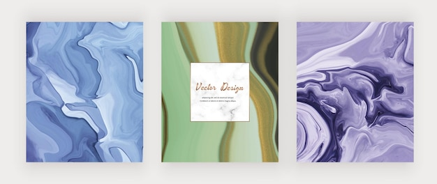 Blauwe en groene vloeibare inkt met gouden glitter en marmeren frame.