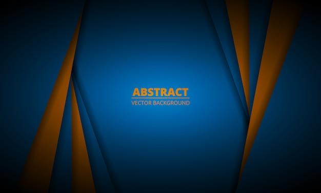 Blauwe en oranje abstracte achtergrond met papier lijnen. donkere elegante moderne ontwerp illustratie.