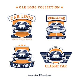 Blauwe en oranje auto logo collectie