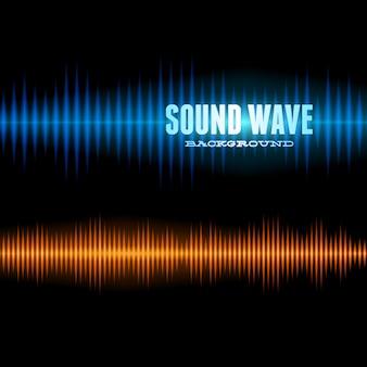 Blauwe en oranje glanzende geluidsgolfvormachtergrond