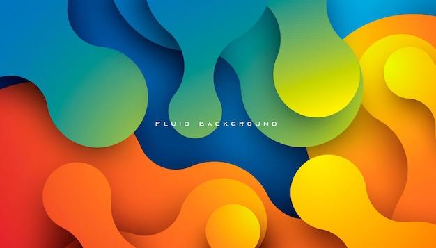 Blauwe en oranje gradiënt dynamische vloeiende achtergrond