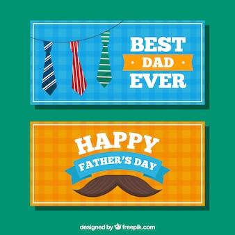 Blauwe en oranje vaders dag banners