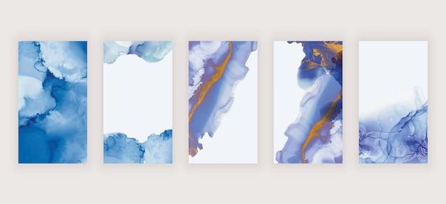 Blauwe en paarse aquarel alcoholinkt voor banners van sociale media-verhalen