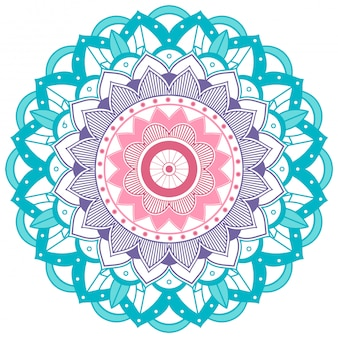 Blauwe en paarse bloem mandala