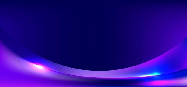Blauwe en paarse gradiënt gebogen vorm met verlichtingsachtergrond.