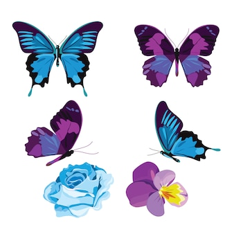 Blauwe en paarse vlinders en bloemen geïsoleerd