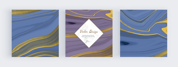 Blauwe en paarse vloeibare inkt met gouden glittertextuurbanners en marmeren frames