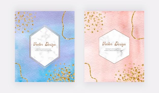 Blauwe en perzik aquarel kaarten met gouden glitter textuur, confetti en geometrische marmeren kaders.