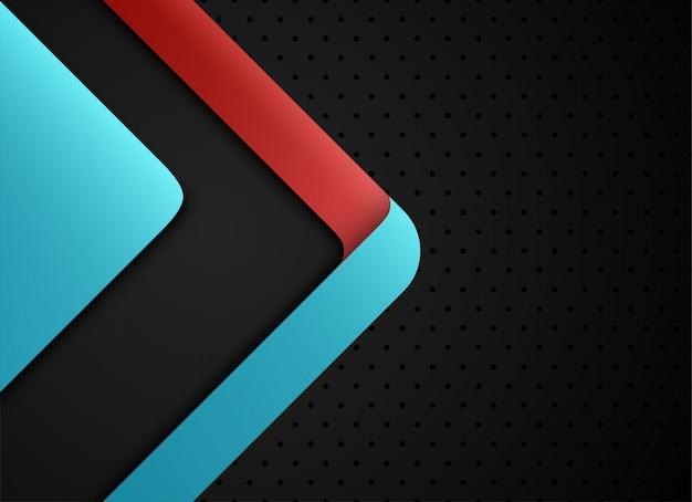Blauwe en rode geometrische en overlappende laag op grijze achtergrond.