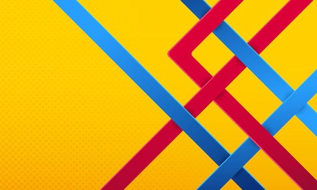 Blauwe en rode lijnen op gele lichte achtergrond.