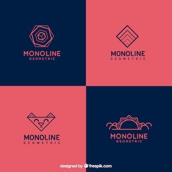 Blauwe en rode monoline logo collectie