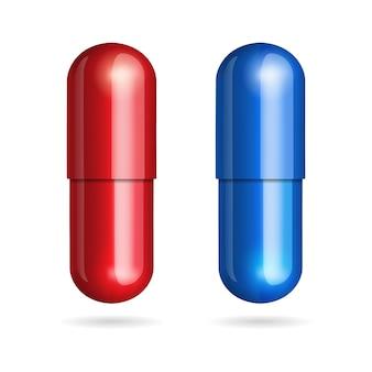 Blauwe en rode pillen