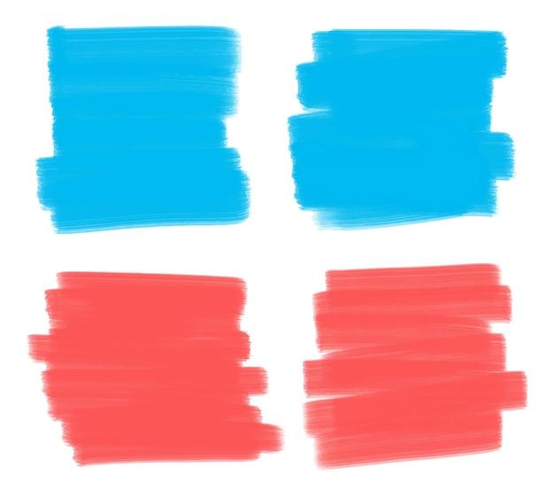 Blauwe en rode verf penseelstreken