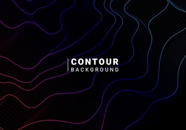 Blauwe en roze abstracte contourlijn vector