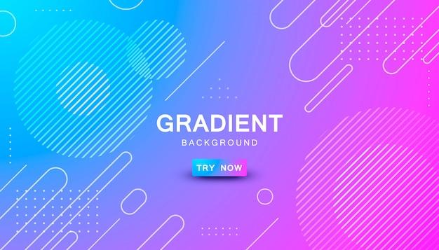 Blauwe en roze achtergrond met kleurovergang geometrische vorm