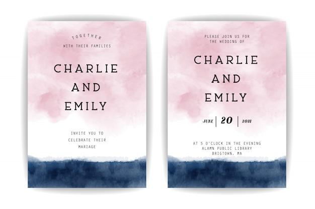 Blauwe en roze aquarel bruiloft uitnodiging ontwerpsjabloon