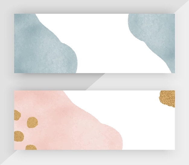 Blauwe en roze aquarel met gouden glitter textuur horizontale banners