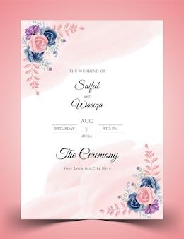 Blauwe en roze kleur roos aquarel bloemen bruiloft uitnodigingskaart