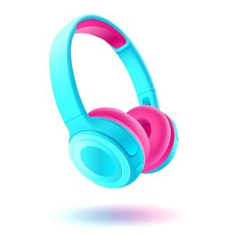 Blauwe en roze koptelefoon op witte achtergrond, realistische afbeelding.