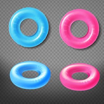 Blauwe en roze opblaasbare ringen boven, vooraanzicht 3d-realistische vector pictogrammen instellen geïsoleerd