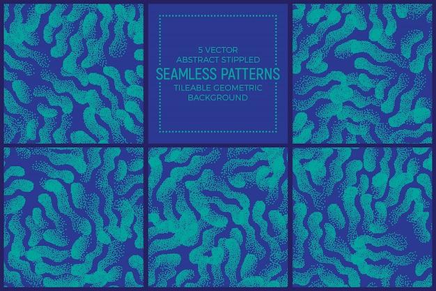 Blauwe en turkooise abstracte gestippelde naadloze patronen vectorreeks