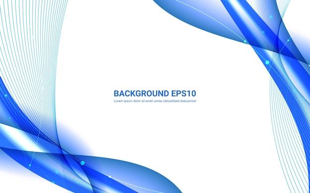 Blauwe en witte abstracte lijn vloeiende kromme achtergrond.